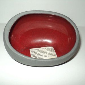 NEW Ceramic Tea Light Votive Holder Gray & Red